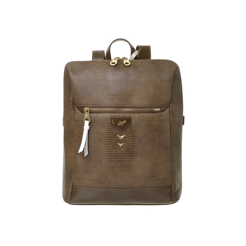 LIZARD SQUARE BACKPACK (BROWN)